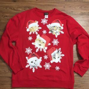 Fifth Sun Christmas Cats in Hats Red Sweatshirt
